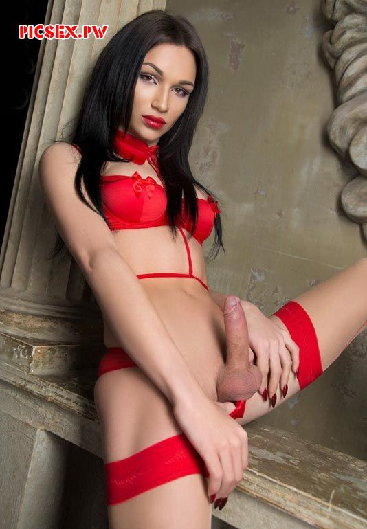 red lingerie on the TRANS brunette with erect cock