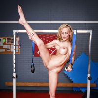 silicone blonde wants to be a gymnast