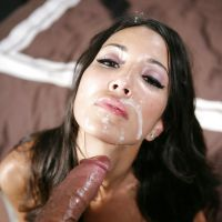 beautiful face brunette in sperm