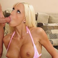 blond babe sucks cock