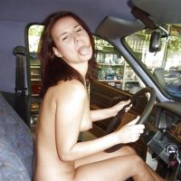 Russian slut sitting naked in the car