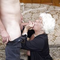 grandson gave the cock in her mouth Granny