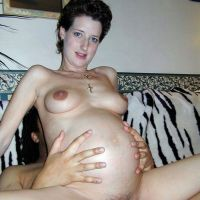 the girl with pregnant belly planted on cock
