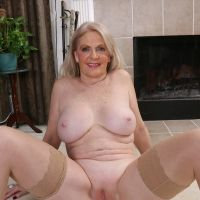 naked old lady in stockings pussy showed