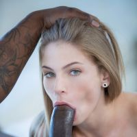 beautiful girl makes Blowjob black dick giant